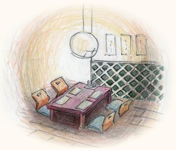 和食レストランのインテリアのなまこ壁