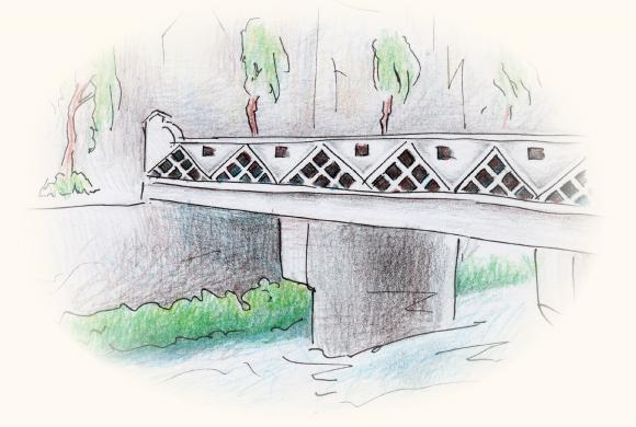 橋の欄干のなまこ壁
