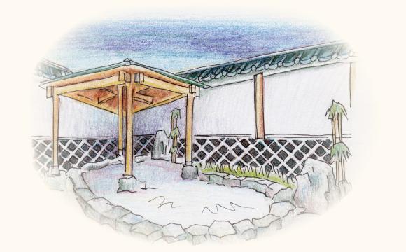 宿泊施設・日帰り入浴施設の露天風呂になまこ壁